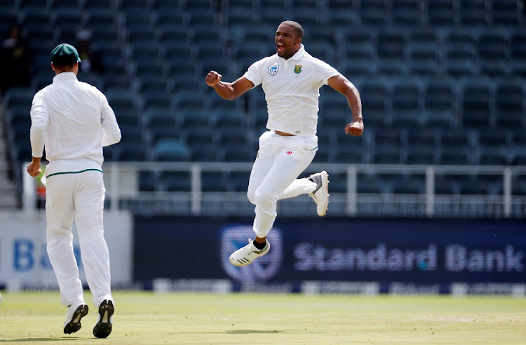 South Africa's Vernon Philander celebrates bowling out Australia's Chad Sayers in the fourth test at Wanderers on Tuesday. Picture: REUTERS/SIPHIWE SIBEKO