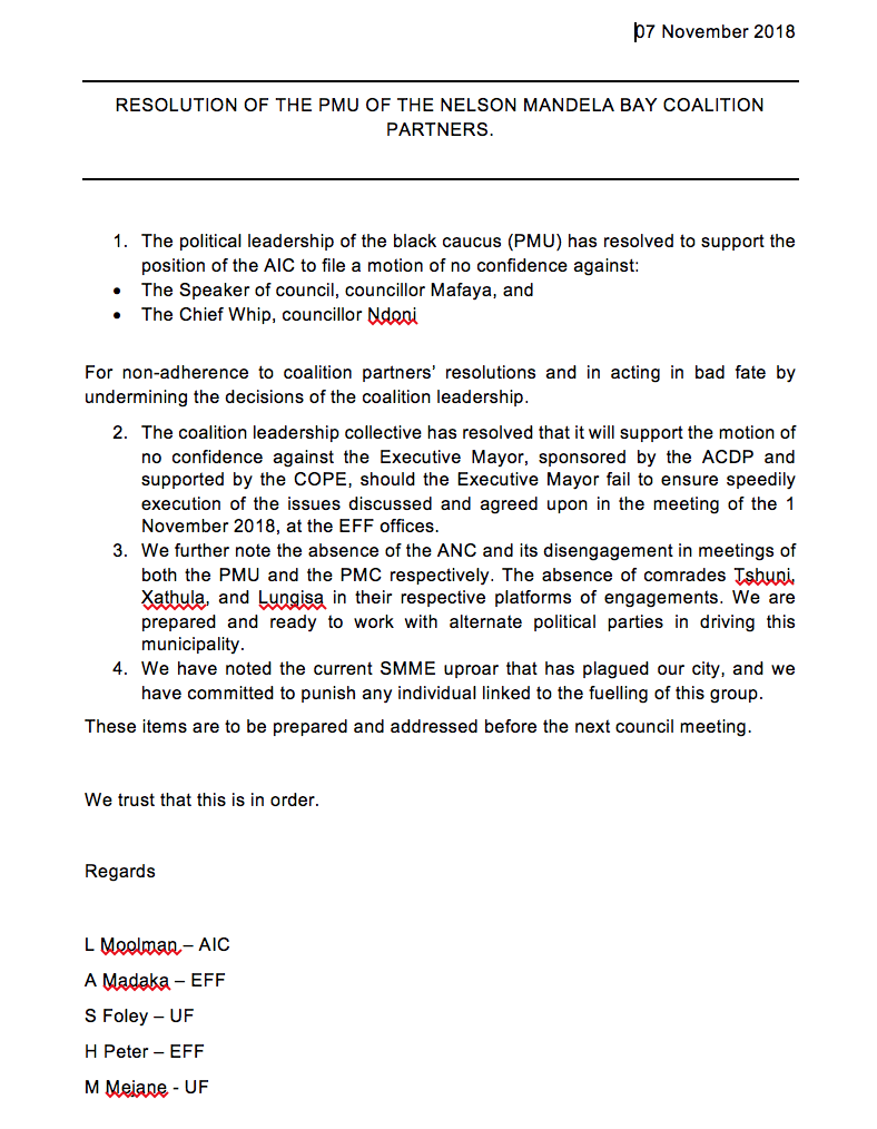 A screengrab of the letter purportedly written by leaders of the EFF, AIC and United Front.