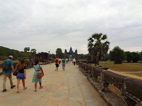 Photo: Walking on the avenue towards Angkor Wat. The temples of Angkor near Siem Reap, Cambodia were the last touristic stop on my Southeast Asia road trip.