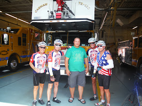 Photo: Day 51 August 8 2013 Herkimer to Latham NY  After being lost, this fireman got us back on track to latham 10 miles away