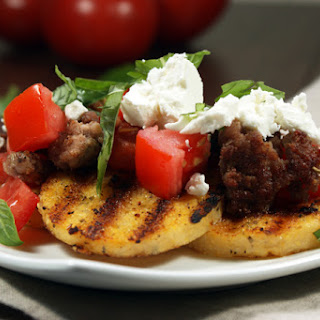 Fried Polenta With Pork, Tomato, Basil, & Goat Cheese