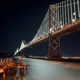 The San Francisco Bay Bridge by Jonas Lechner - Buildings & Architecture Bridges & Suspended Structures ( travel photography, beautiful, amazing, city, night, california, long exposure, stars, travel, san francisco, photography )
