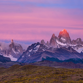 Light Hits the Peak by Phyllis Plotkin - Landscapes Sunsets & Sunrises ( sunrise, mountains, colors., torres del paine, chile, landscape )