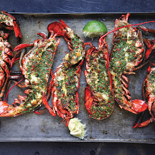 Grilled Lobster with Cilantro-Chile Butter