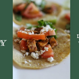 Chili & Lime Chicken Tacos with Cilantro and Queso Fresco.