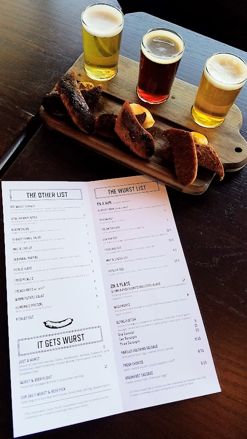 OP Wurst Division, Wurst and Beer Flight with three half sausages and three 5 ounce beer pairings