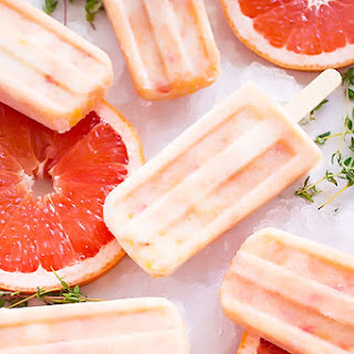 Grapefruit Peach Popsicles with Maple + Thyme.