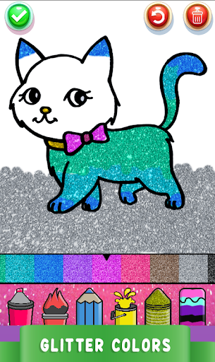Cute Kitty Coloring Book For Kids With Glitter screenshot 3