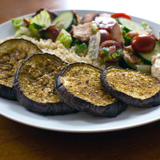 Za'atar Roasted Eggplant with Quinoa, Hummus, and Fattoush Salad.