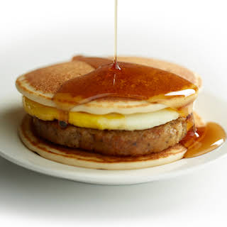 Pancakes and Sausage Breakfast Sandwich.