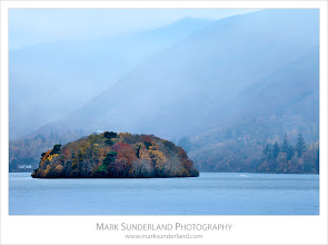 """Photo: St Herberts Island on a Misty Morning  This was on the second """"sunrise"""" shoot of my recent trip to the Lake District. It was a rather dull, cold and windy morning and the boats were all rattling around too much to do anything sensible at the landing stages in Keswick so I wandered along to Friars Crag instead. This misty shot made getting up and out before breakfast rather more worthwhile!  Canon EOS 5D MkII,EF70-200mm f/4L USM at 180mm, ISO 100, 2s at f22"""