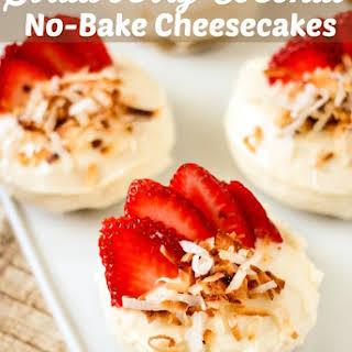 Strawberry Coconut No-Bake Cheesecakes.