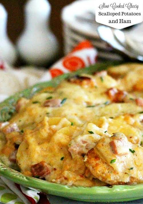 """Click Here for Recipe: Slow Cooked Cheesy Scalloped Potatoes With Ham """"These..."""
