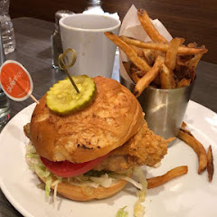 Fried chicken sandwich with herb fries