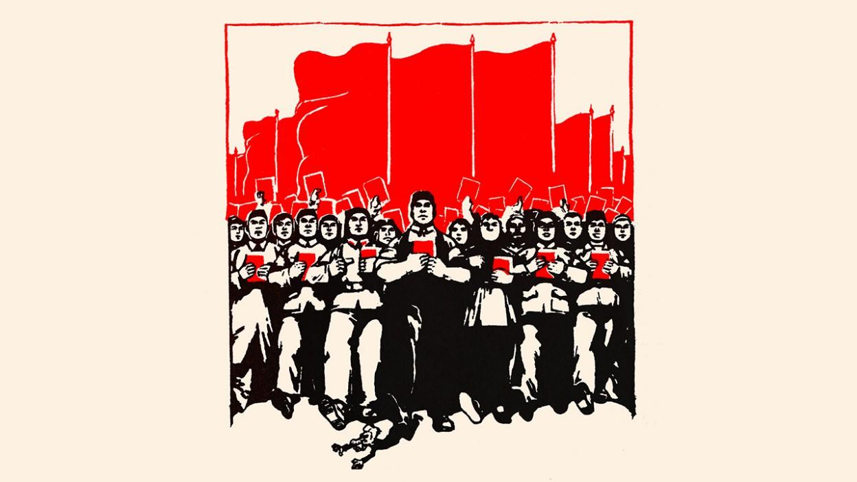 """""""United Under Communism - We Can Defeat the West"""", woodcut produced by the Chinese government, 1950"""