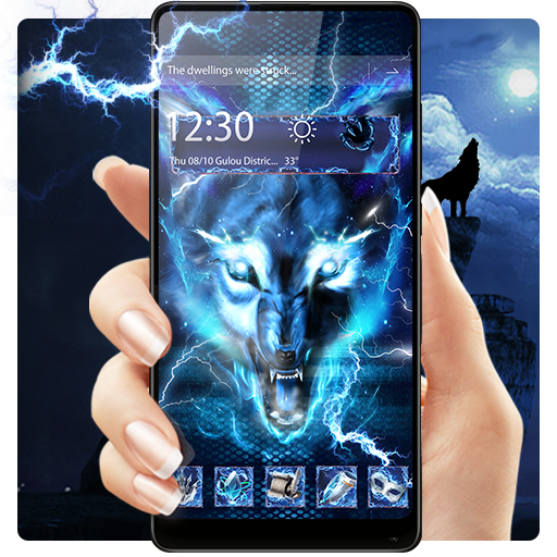 3D blue fire Ice wolf launcher theme file APK for Gaming PC/PS3/PS4 Smart TV