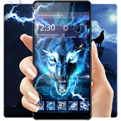 3D Blue Ice wolf theme