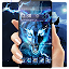 3D blue fire Ice wolf launcher theme