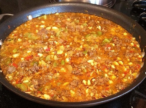 Add liquid to all the other ingredients in the skillet.  Stir well. ...