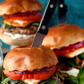 Lamb Burgers with Fried Halloumi Cheese
