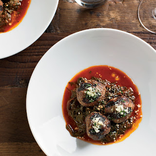 Beef-Ricotta Meatballs with Braised Beet Greens.