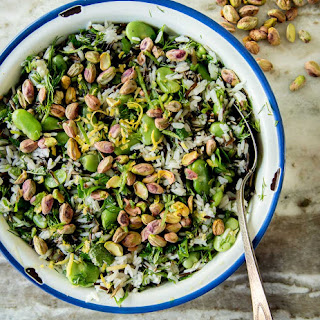 Rice Salad with Fresh Fava Beans and Pistachios.