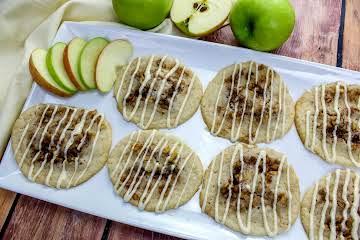Glazed Caramel Apple Pecan Pinwheel Cookies