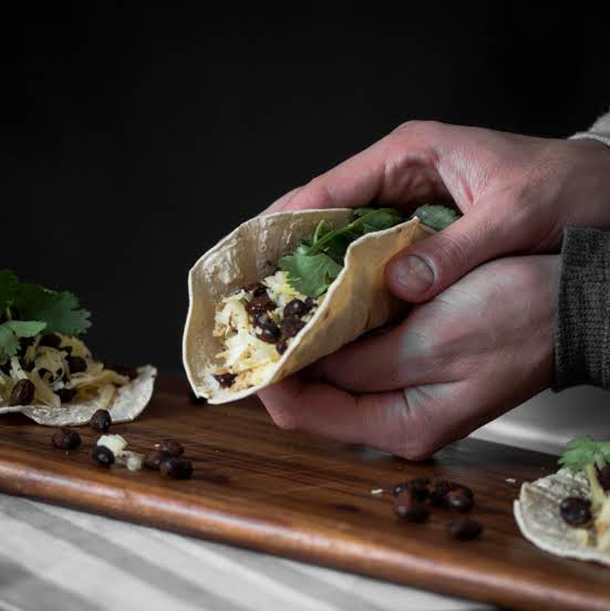Scrambled Egg And Spiced Black Bean Breakfast Taco Recipe