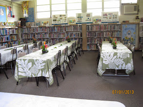 Photo: The library was set up for the light refreshments after the groundbreaking ceremony.  All of the flowers in the centerpieces were from our school campus and were beautifully arranged by our clerk, Mrs. Horton.