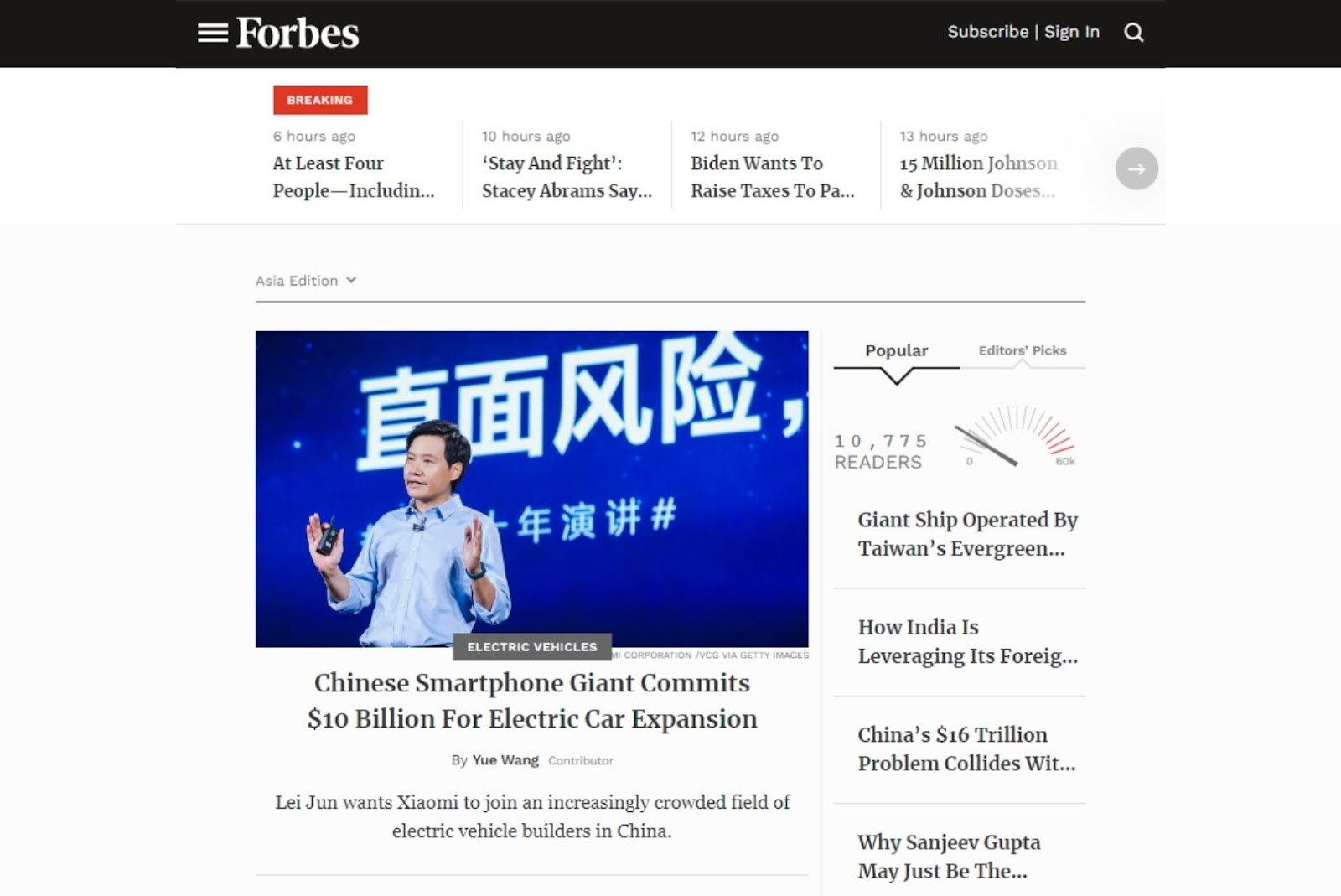 forbes web app built in angular