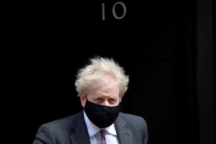 Britain's Prime Minister Boris Johnson leaves Downing Street, in London, Britain, on April 21 2021.