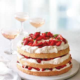 Angel Food Cake with Minted Strawberries and Mascarpone Cream.