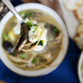 Chicken + Mushroom Noodle Soup with Poached Eggs.