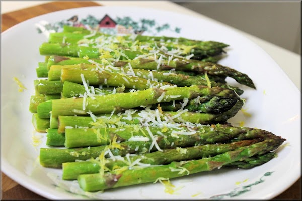 Serve asparagus - Remove from oven and place on serving plate while they nice...