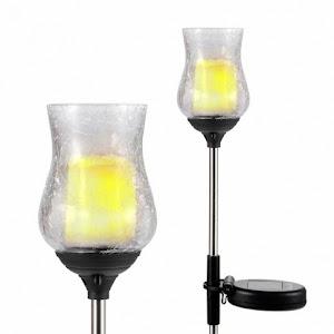 Set 2 x Lampa solara LED palpaitor, IP 44, inaltime 76 cm