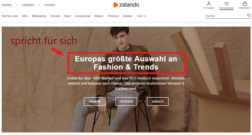 Zalando Headline Beispiel