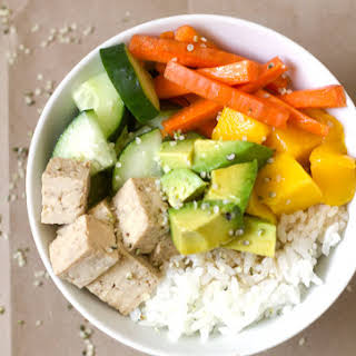 Maple Soy Tofu Sushi Bowl.