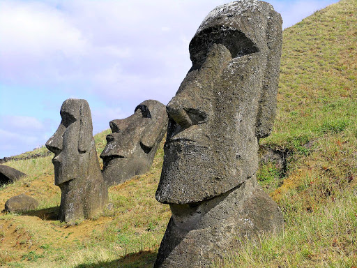 Closeup of moai in the quarry on Easter Island.