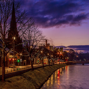 Early morning by the river Ness , in Inverness  by Gordon Bain - City,  Street & Park  Night ( dawn, river ness, inverness )