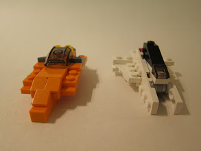Photo: Two racers.  I built this around when Tron:Legacy came out, and I was thinking of the colored racer bikes featured in both movies (old & new).