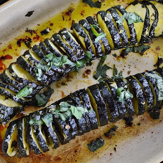 Hasselback Courgettes or Zucchini with Basil Oil GF SCD