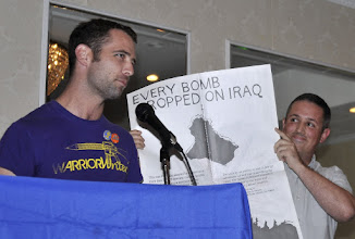 Photo: Iraq Veterans Against the War members Ryan Holleran and Matt Howard made a presentation to VFP of a porftolio of antiwar posters