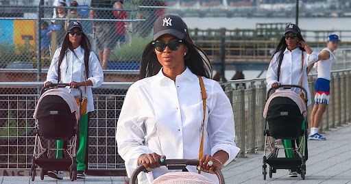 Baby's day out: New mum Naomi Campbell, 51, makes first public outing with daughter on New York stroll