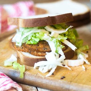Vegan Gluten Free Pastrami Sandwich.