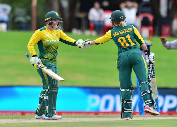 Lizelle Lee and Dane van Niekerk of South Africa during the 2018 Women T20 match between South Africa and India at SuperSport Park, Pretoria on 21 February 2018.