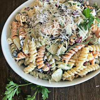 Creamy Italian Four Bean Pasta Salad.