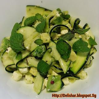 Fresh Zucchini Salad with Avocado, Feta, and Mint