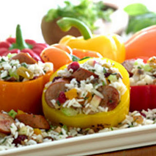 Johnsonville Apple Chicken Sausage and Rice Stuffed Peppers.