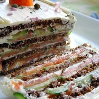 Cake With Salmon And Cream Cheese