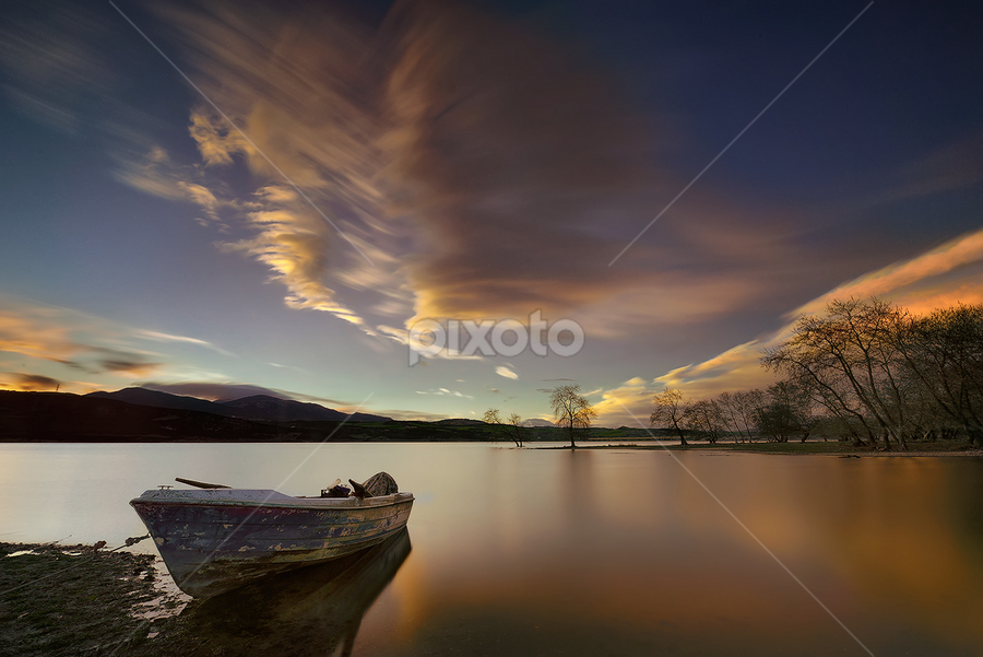 ------ by Dimitrios Lamprou - Landscapes Waterscapes ( sunset lake long exposure tree sky d800 )